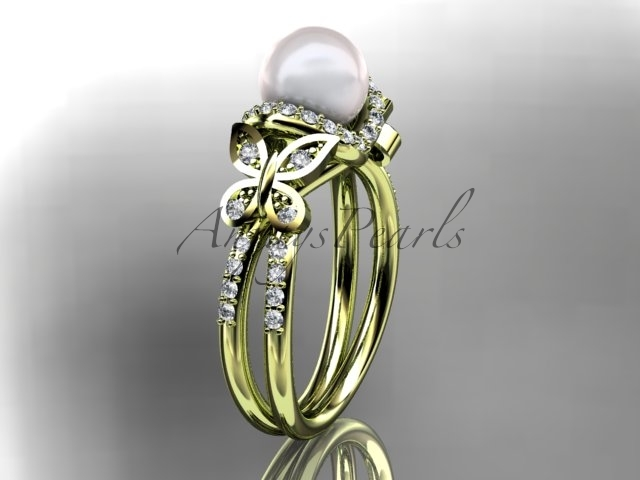 14kt yellow gold diamond pearl engagement ring, butterfly wedding ring AP141 - $1,545.00
