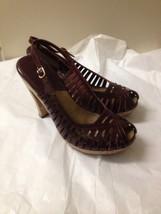 Women's Burgundy Patent Leather Michael Kord Slingback Heels Size 7.5 - $15.83