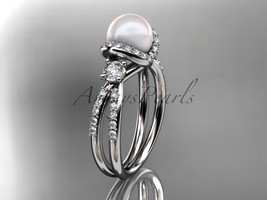 Platinum diamond pearl engagement ring, butterfly wedding ring AP146 - $2,395.00