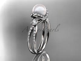 Platinum diamond pearl engagement ring, butterfly wedding ring AP146 - $2,395.00