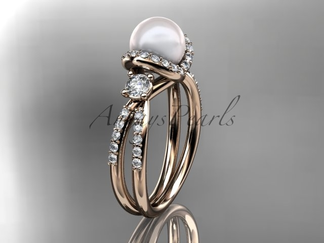 Unique pearl engagement ring, 14kt rose gold diamond pearl engagement ring, butt
