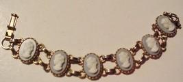 "Vintage Cameo Bracelet Ladies Heads on light blue 6 1/2"" Unsigned - $29.65"