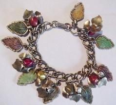 "Vintage Metal Enamel Leaves and Berries Charms Bracelet 7"" Unsigned - £30.08 GBP"