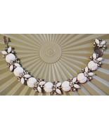 Vintage Crown Trifari White Enamel Rhinestone Bracelet HTF - $27.67