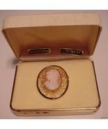 Hand Carved Genuine CAMEO BROOCH Vintage NIB Go... - $57.37
