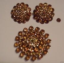 Vintage Peach/Amber Ab Weiss Demi Parure Rhinestone Brooch And Earrings Set - $47.03