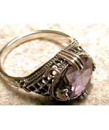 RING 5 SILVER RUSSIAN ALEXANDRITE solitaire ENGAGEMENT FILIGREE COLOR CH... - $79.30