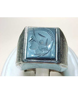 Men's HEMATITE Intaglio RING in STERLING Silver - Size 8 - Vintage - $125.00