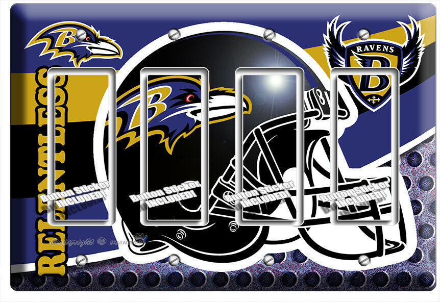 Primary image for BALTIMORE RAVENS FOOTBALL TEAM 4 GFCI LIGHT SWITCH WALL COVER MANCAVE ROOM DECOR