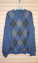 NEW MENS SIZE 2XLT XXLT CROFT & BARROW NAVY BLUE ARGYLE SWEATER LONG SLE... - $21.28