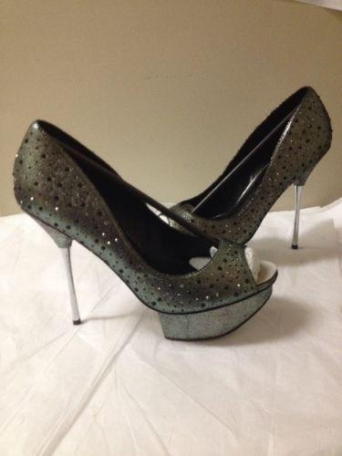 Women's Gray Distressed Studded Betsey  Johnson  Heel Size 10 New
