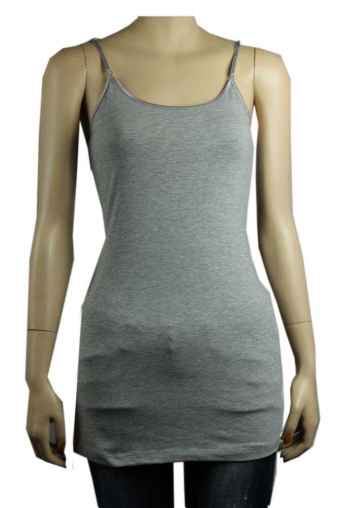 12COR Basic SPAGHETTI TANK TOP Adjust Strap Tunic Long Layering Casual Cami Plus