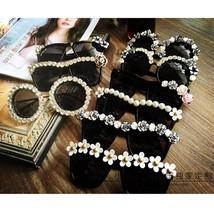 Women Sunglasses Fashion Retro Rhinestone Handmade Flower Pearl Beach Su... - $9.18+