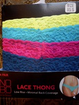 Women's Juniors No Boundaries Lace Thongs 4 Pack Size XS/S Yellow Blue P... - $10.88