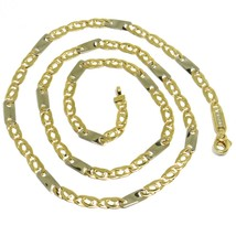 18K YELLOW WHITE GOLD CHAIN, EYE AND PLATE ALTERNATE LINK, 20 INCHES, ITALY MADE image 1