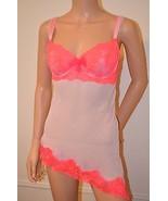 VICTORIA'S SECRET $68 Pink Coral Lace Camisole Slip Babydoll 36C NEW VS - $59.37