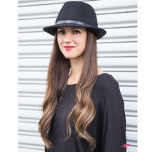 ADORNA by MILANO Kylie 2 II Women Small Brim Wool Ladies Fedora Hat - Black - £49.65 GBP