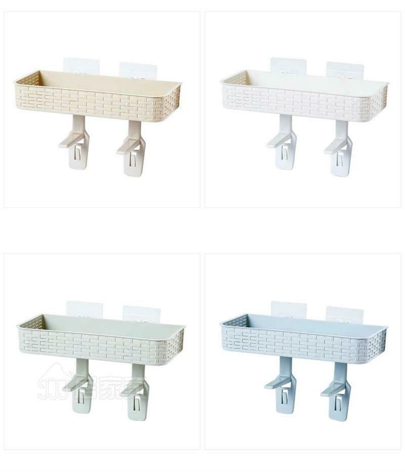 Wall Mounted Plastic Storage Rack Suction Bathroom Kitchen Shelf Basket Holder image 12