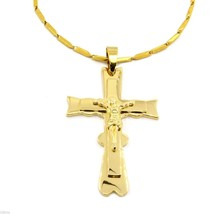 "Men 24"" Gold Stainless Steel 3mm Box Chain Necklace Cross Pendant G5 - $29.69"