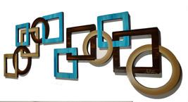 2pc JUMBO Blue Tan and Brown Geometric Squares & Circles  Wood Wall Scul... - $359.99