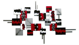 Contemporary, Modern Red, black, silver, Abstract Art Square wall Sculpt... - $299.99