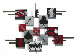 The Game, Cards & Dice themed Abstract Wood and Metal Wall Sculpture - $199.99