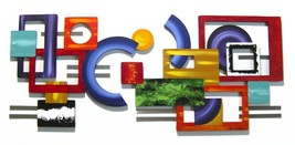 Unique Contemporary Modern Geometric Colorful Wall Sculpture by A.Tarpley - $449.99