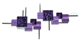 Beautiful Contemporary Abstract Floral Square Wall Sculpture Purple LIla... - $239.99