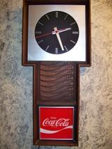 Vintage Enjoy Coca Cola sign large electric wall clock works NO pendulum... - $72.93
