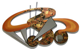 Contemporary Modern Abstract Mirrored Art Wood Wall Sculpture with Metal... - $229.99