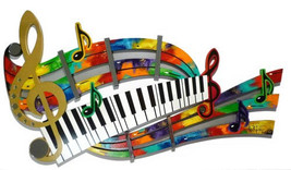Unique Colorful Abstract Music Notes & Piano Keys Wall Sculpture, by Div... - $539.99
