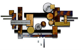 BIG Contemporary Geometric Abstract Wood and Metal wall Sculpture by Div... - $549.99