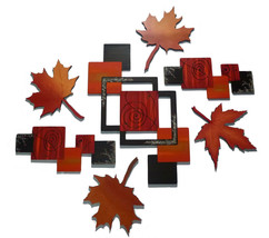 Large 7 piece Contemporary Autumn Fall Leaf Swirl Design Wall Sculpture ... - $449.99