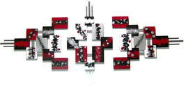 3pc Red,Black,Modern,Abstract,Squares, unique-Sculpture 81x37 by Alisa R... - $549.99