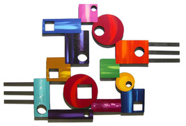 Peace Out #5 Abstract Geometric Bold Colorful Unique Wood Metal Wall Scu... - $239.99