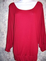 Red batwing dolman sleeve scoopneck lightweight stretch knit top woman p... - $41.80