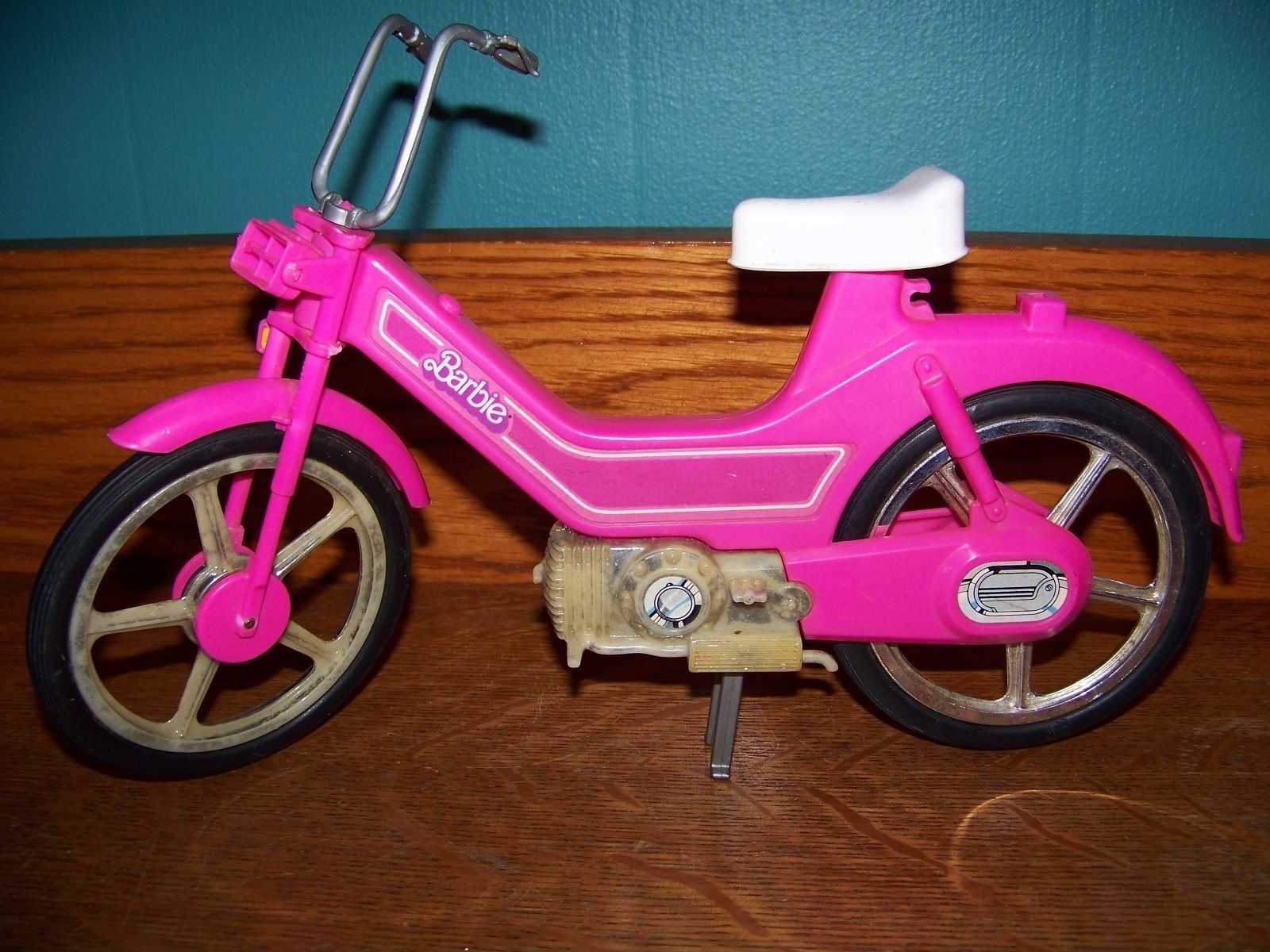 Barbie hot pink bicycle moped motor bike 12