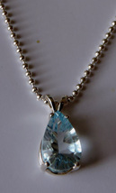 Lovely Faceted 12x8mm Pear Teardrop Sky Blue Topaz Pendant  Necklace - $45.00