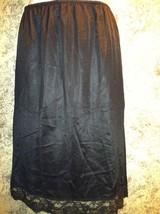 "27"" W 25"" L nylon half slip black with lace trim 7"" slit womens M 12-14 ... - $20.24"