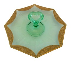 Vaseline Green Center Handle Snack Tray With Gold Floral Trim - $32.00