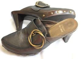 "Stuart Weitzman Size 6 1/2 M 2 3/4"" Heel Dark Charcoal Grey Mules Shoes  - $30.69"