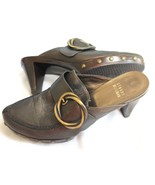 "STUART WEITZMAN SIZE 6 1/2 M 2 3/4"" HEEL DARK CHARCOAL GREY MULES SHOES  - $30.69"