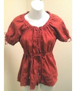 Old Navy S Top Rust Embroidered Open Tie Front Puffed Short Sleeve - $9.78