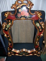 """Classic Hand Carved Wood Mirror Red Black Gold Floral Designs 27""""H X 17.5"""" W - $250.00"""
