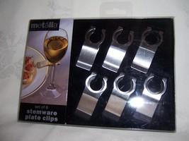 VERSATILE NEW STAINLESS STEEL METALLA STEMWARE PLATE CLIPS WINE GLASS ON... - $14.00