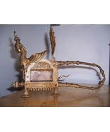 WICKED EVIL LARGE PEACOCK FEMALE ENGRAVED BRASS NUTCRACKER FROM INDIA - $235.00