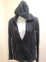 Old Navy Maternity XS Sweater Gray Cable Knit Hooded Deep V Neck Tunic L... - $14.67
