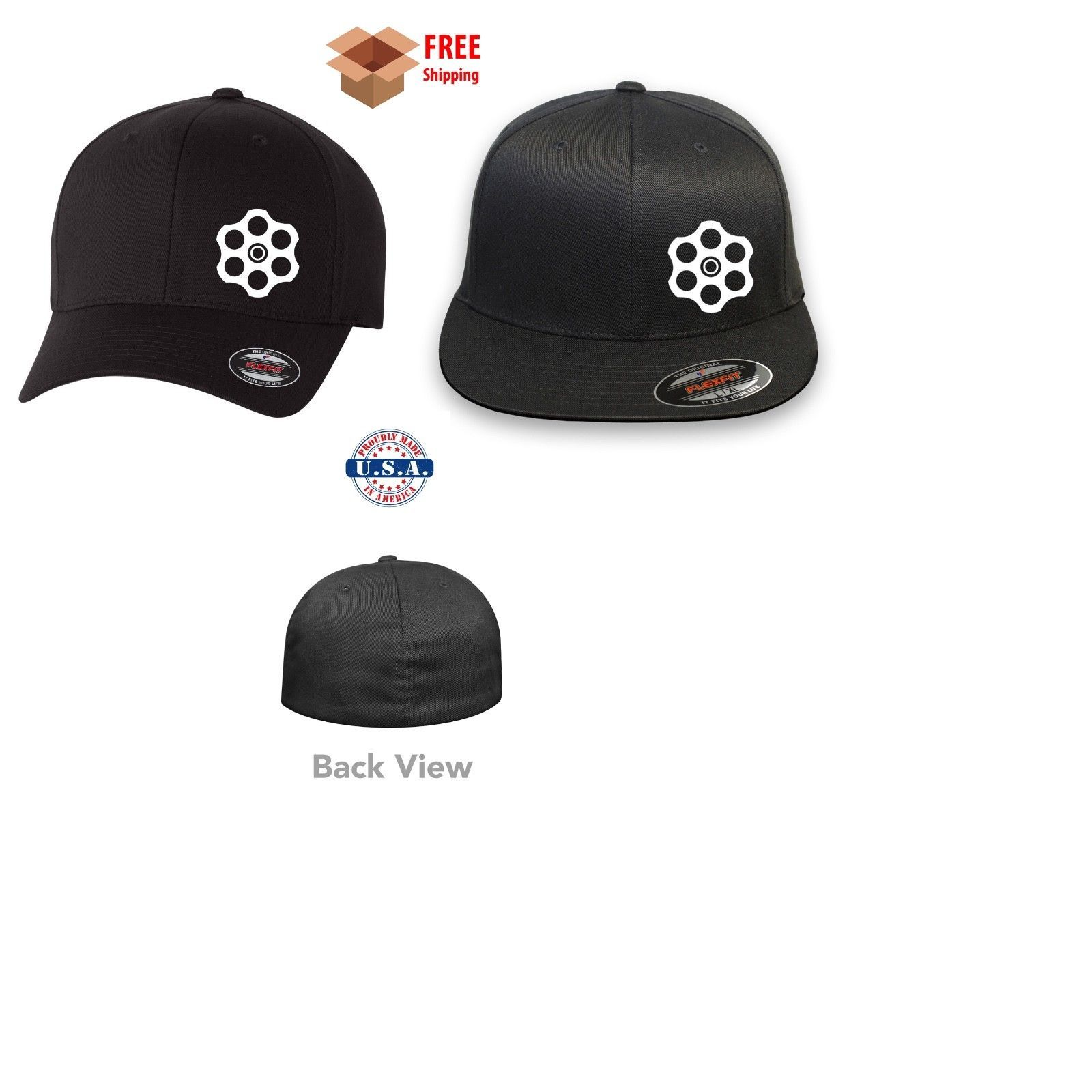 Primary image for GUN CHAMBER REVOLVER 2ND AMENDMENT  FLEXFIT HAT *FREE SHIPPING in BOX*
