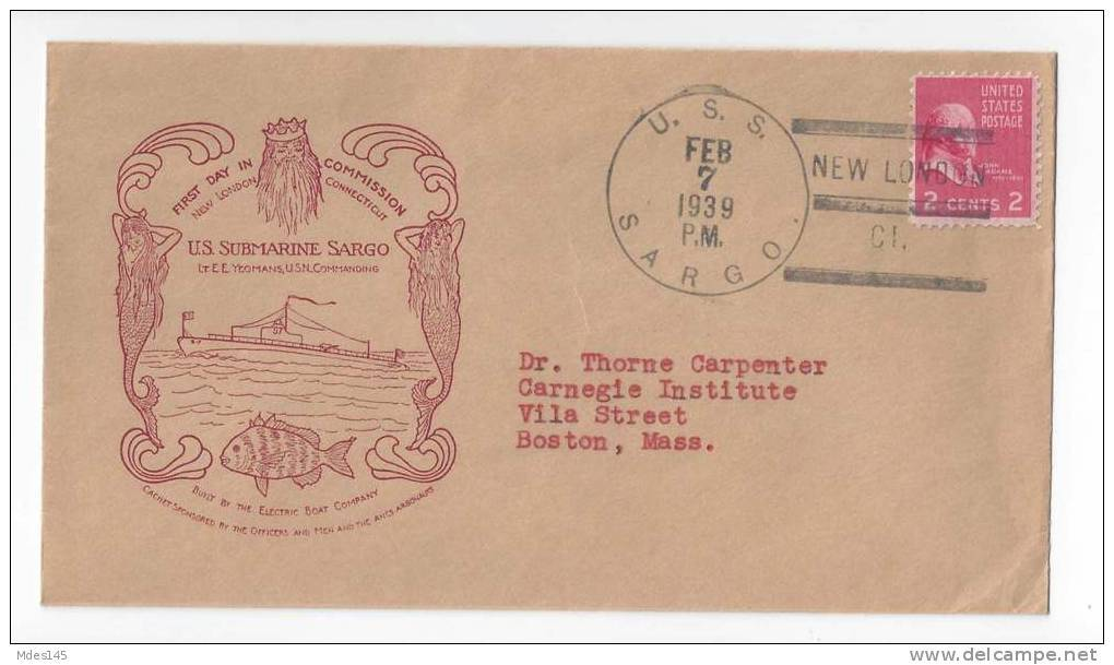 Br 143 cov naval cover uss sargo submarine ss 188 1939 first day commission electric boat co