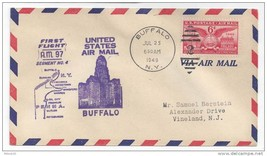 1949 AM 97 First Flight Cover Pittsburgh PA Buffalo NY Segment No. 4 FFC - $6.99